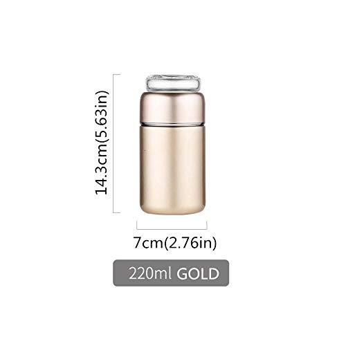 NO BAND 220ml Mini Thermoskanne Tee Wasser Infuser Flasche Edelstahl Vakuumflasche Mit Deckelfilter Für Heißtrinkauto Kinder Frauen-Gold