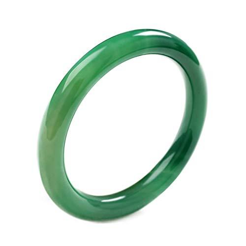 HSUMING Jade Bracelets Bangle pour Les Femmes, Style Classique Encre de Chine Vert Agate Jade Bangles,60