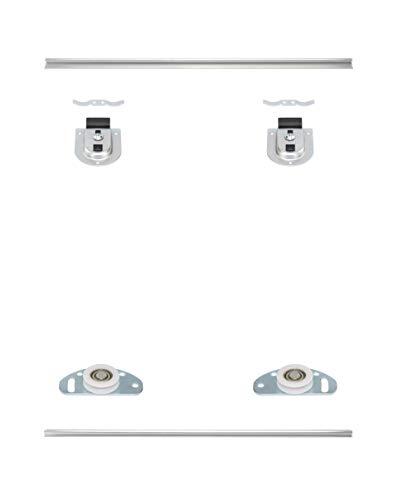 Möbelschiebetürbausatz inkl. Beschläge für 2 Türen, Obere und untere Laufschiene in 2000 mm | Geeignet für Möbelkorpus gebundene Schiebetüren