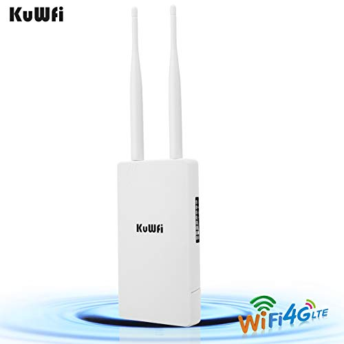 KuWFi Waterproof Outdoor 4G LTE CPE SIM Card WiFi Router 150Mbps CAT4 SIM LTE Routers Work with IP Camera or Outside WiFi Coverage with 2pcs Antenna Only Work with SIM Card Mode Not for USA