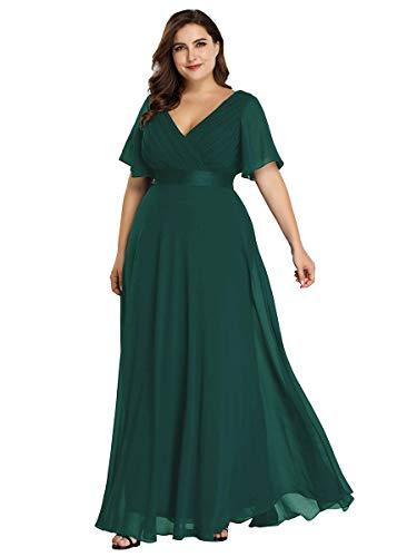 Ever-Pretty Damen Abendkleid A-Linie Lange Abschlusskleid V Ausschnitt Kurze Ärmel Hohe Taille Dunkelgrün 52