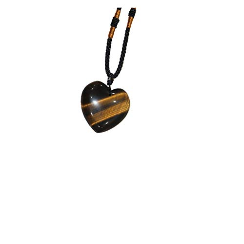 CHANGFUSHEN Natural Crystal Pendant Tiger Eye Stone Love Shape Necklace Crystal Crafts Heart Shape Necklace Jewelry
