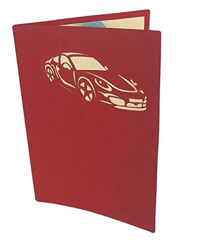 Tarjeta de felicitación de origami con diseño de coche azul