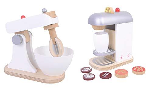 Kaffeemaschine und Küchenmaschine Mixer aus Holz Set Spielküche