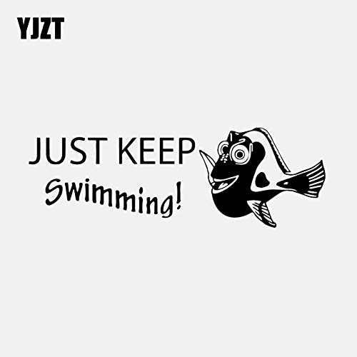 A/X 18.1CM*6.1CM Vinyl Decal Car Sticker Finding Nemo Dory Just Keep Swimming Fish Decal Black/Silver C24-0926 Black