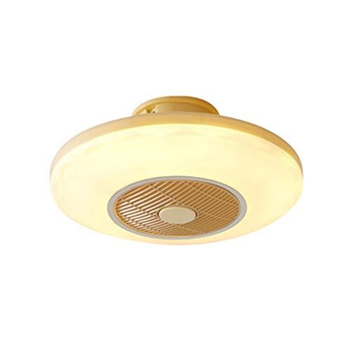 Ventiladores for el Techo con lámpara, Lámpara del Tricolor Regular Lámparas Colgante Shrink Invisible Fandelier Luz LED De Control Remoto Regulable Baño Dormitorio Aula (Color : Yellow)