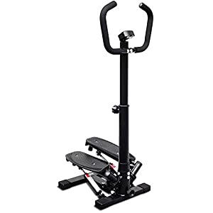 Deco Home Exercise Step Machine w/Adjustable Stability Handle Bars, Non-Slip Pedals, and LCD Tracking Display, Low…