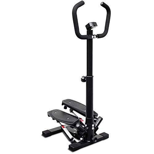 Deco Home Exercise Step Machine w/Adjustable Stability Handle Bars NonSlip Pedals and LCD Tracking Display LowImpact Fitness Equipment for Homes Apartments Dorms and More