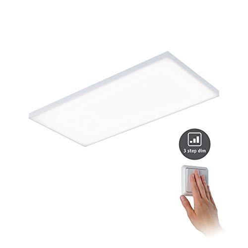 Paulmann 79823 LED Panel Velora eckig incl. 1x26 Watt dimmbar Deckenlampe Weiß matt Lichtpanel Metall Deckenlicht 3000 K, 26 W, 595x295mm ▭ 595x295mm