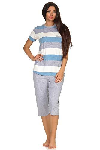 NORMANN-Wäschefabrik Damen Capri Pyjama Kurzarm in wunderschöner Block Streifen Optik - auch in Übergrössen - 102 204 90 101, Farbe:blau, Größe2:48/50