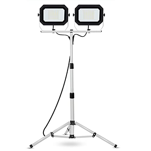 20000 Lumen Work Lights with Stand, 200W Dual Head LED Work Light, Waterproof Lamp with Individual Switch, Adjustable Metal Telescoping Tripod 10Ft Power Cord UFOND
