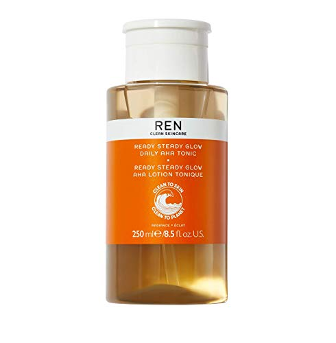 REN Clean Skincare Ready Steady Glow Daily AHA Tonic, Even Skin Tone & Brightness with Resurfacing AHAs & BHAs, 8.5 Fl Oz