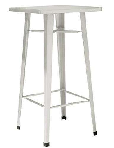 PEGANE Table Haute en tôle galvanisée Coloris Ivoire - Dim : L.60 x P.60 x H.108 cm -A Usage Professionnel
