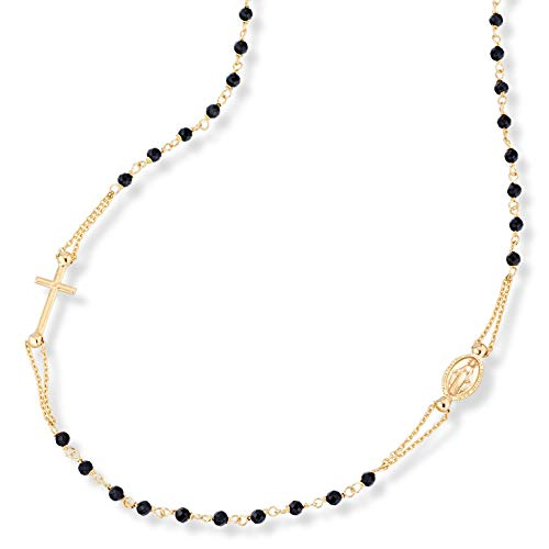 MiaBella 18K Gold Over Sterling Silver Italian Handmade Natural Black Spinel Rosary Beaded Sideways Cross Necklace for Women Teen Girls 18, 20 Inch Chain 925 Made in Italy (18 Inches)