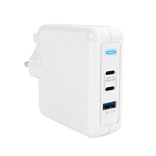 Rytaki 60W USB C PD Charger, PD Wall Charger Adapter with 18W USB 3.0 Charger Compatible with USB-C Laptops, Mac-Book Pro/Air, Pad Pro,iPhone 11 / Pro/Max/XR/XS/X, Pixel, Galaxy, and More