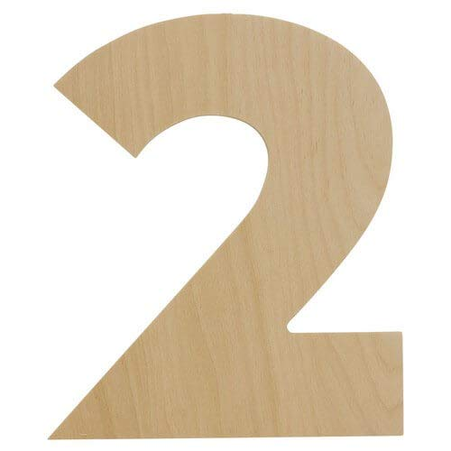 Wooden Number - 2- Unfinished 8 x 6.5 Inch Decorative Craft Monogram for Wedding and Birthday Parties and Home Décor with Tool Free Adhesive Foam Squares for Hanging - by Woodpeckers