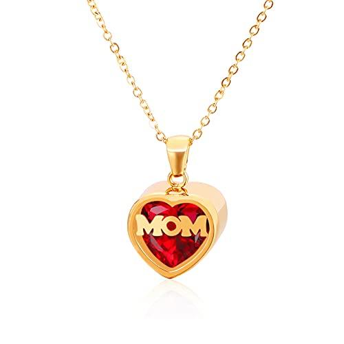 Qings Collar Piedra Preciosa Rubi Colgante Corazon Oro para Mama Mujer