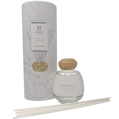 Baltus Candles Green Tea & Berry Fragrance Reed Diffuser with Natural Essential Oil Lavender 200ml./6.8 Fl.oz, Scented Reed Diffuser Gift Set with Sticks Best for Aromatherapy
