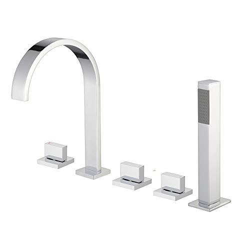 XSGDMN Bad Wasserhahn Auslauf, Chrom Quadrat Mono Messing Wasserhahn Mit Handspray und Filter Outlet Fünfteiliger Anzug Verchromter Spiegel