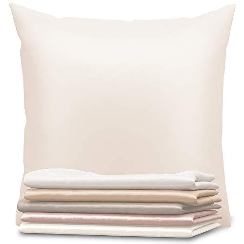 Dreamzie - Seidenkissenbezug 80 x 80 cm - 100% Maulbeerseide 19 Momme Doppelseitig Oeko-TEX® - Silk Pillowcase für Haar und Haut - Anti-Aging, Anti-Bettwanzen - Elfenbein