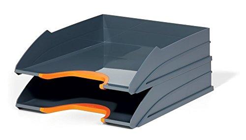 Durable 770209 Varicolor Tray Set Duo, 2 Vaschette Porta Corrispondenza, Impilabili, Rientranza Frontale, 255 x 55 x 330 mm (1 Vaschetta), Arancione