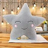 MYSdd Almohadas Sky Plush Sleeping Smile Cloud Star Water Drop Moon Cojín Room Cot Decor Nature Pillow Blanco Rosa Gris - Estrella Gris