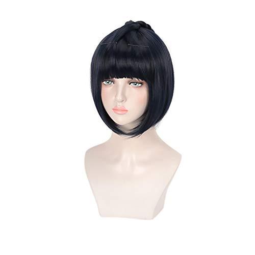 C-ZOFEK Men's Anime Cosplay Wig Short Black Bob Hair with Detachable Pigtail (Black blue)