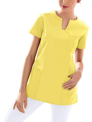 CLINIC DRESS Schlupfkasack Kasack Damen für Krankenpflege und Altenpflege 95° Wäsche gelb L