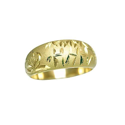 K18 指輪 鍛造(たんぞう) 月甲(つきこう)松竹梅彫リング8g ゴールドリング 彫金 マリッジ 結婚 記念日 プレゼント オリジナル(17号)