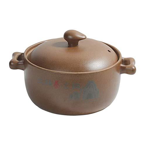 DJDLLZY Cazuela de cerámica Redonda sin ganas con Tapa, Olla de Barro Hecho a Mano Olla de Taja de Cebolla de Cebolla Olla de Sopa para cocinar Lenta (Size : 2.8L)