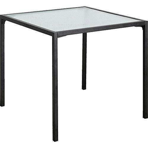 Meubletmoi - Mesa de comedor compacta de metal negro y cristal acanalado de 2 a 4 plazas – TOLE 8904