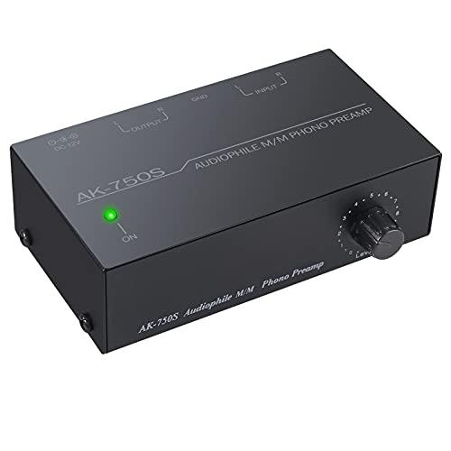 Preamplificador de Fono MM RIAA Preamp Tocadiscos Preamplificador de Microfono con Controles de Nivel Conector de Entrada y Salida RCA con Adaptador de Corriente 12V Preamplificador Estereo HiFi