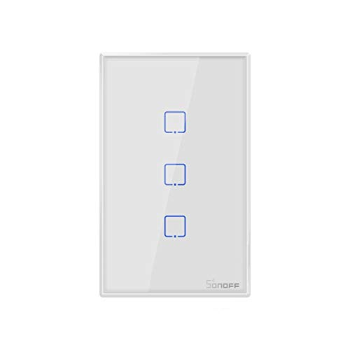Yangeryang Lj Sonoff T2 Touch 120 mm Interruptor Panel de Vidrio Templado Smart Wall Inicio Luz Touch Switch, Compatible con Alexa y Google Inicio, CA 100V-240V, Enchufe de EE.UU.