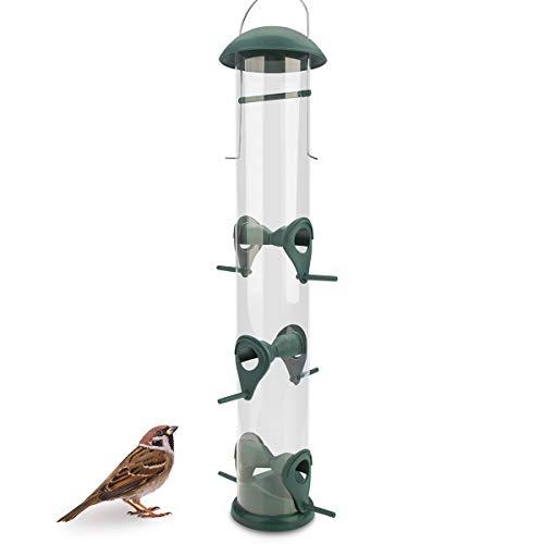 WILDLIFE FRIEND I 40cm Körner Vogelfutterspender grün - mit 6 Anflugplätzen, Vogel Futterstation, Futtersäule, Körner Wildvögel Futtersilo
