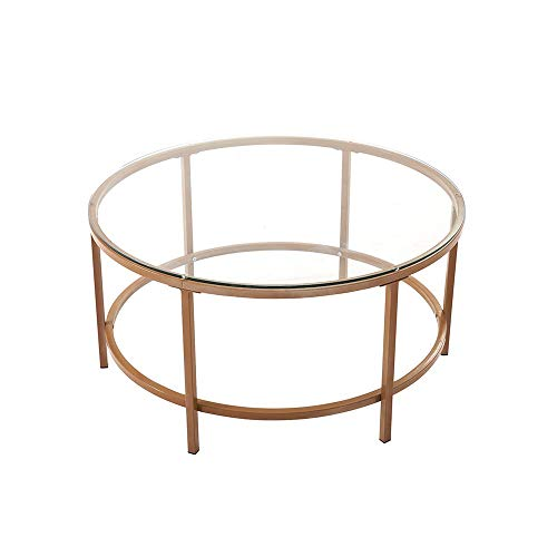 HENBO Mid Century Modern Metal Nesting Tables Coffee Table Simple Side End Table with Metal Frame Clear glass desktop for Living Room Bedroom Home Office Gold (80CM)