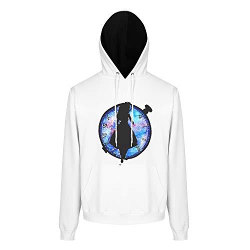 JEFFERS Mens Unisex Sweatjacke Pullover Uhr Mädchen Longsleeve Langarm Sweatshirt Pullover Rundhals Für Frauen White 3XL