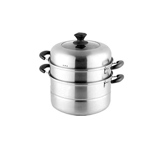 JF-XUAN Pot vapor, la cocina casera de 3 Capas vapor del acero inoxidable Set, al aire libre, Cocina de gas Olla de vapor universal utensilios de cocina, de plata, 30 cm (30 x 34) cm de vapor del hoga