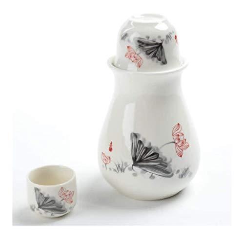 Cerámica sake japonés Set conjunto del motivo japonesa, 4 piezas esmalte blanco Textura tazas de cerámica, artesanía copas de vino, for el frío / caliente / Shochu / té mejor regalo for la familia y l