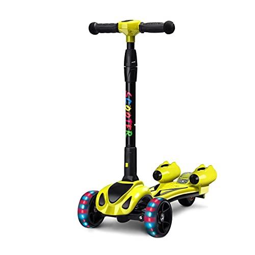 WANGYIYI Scooters para niños con Spray de Colores Patinetes Ajustables en Altura múltiple Patinete de Varilla de aleación de Aluminio Plegable con un Clic con luz Musical (Color : Yellow)
