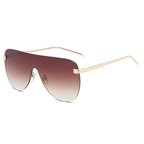 DLSM Übergroße Sonnenbrille mit Farbverlauf Frauen Ovale Linse Einteilige Sonnenbrille Flat Top Große randlose Brillenschirme UV400-braun