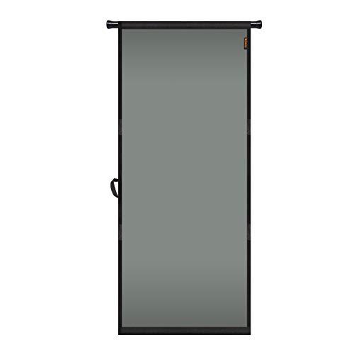 "MAGZO Hanging Screen Door 32"" x 80"", Durable Fiberglass Screen Door with Retractable Tension Rod and Hook and Loop Fit Door Size 32'' x 80'' Sliding Entry Back Kitchen Patio RV Screen Curtain Grey"