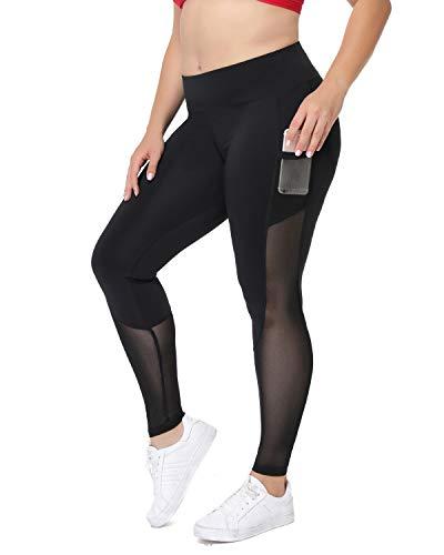 Joyshaper Damen Capri-Leggings, Übergröße, hohe Taille, Yoga-Hose, mit Taschen, Netzstoff, Sport-Tights - Schwarz - Klein