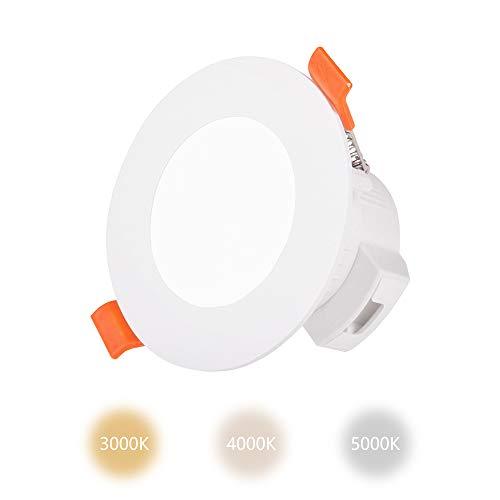 Mini Lampara Foco Downlight LED Empotrable 5W Tamaños de Agujero Techo Diámetro 65-80MM IP44 para Baño Cocina Color de Luz Ajustable No Regulable Lot de 1 de Enuotek