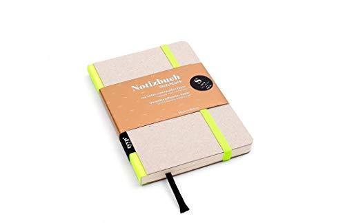 Design Notizbuch A6 Öko-Neon Gelb, handgemacht Berlin, journal a6, moleskine, Skizzenbuch A6 blanko mit Gummiband, kleines Notizbuch