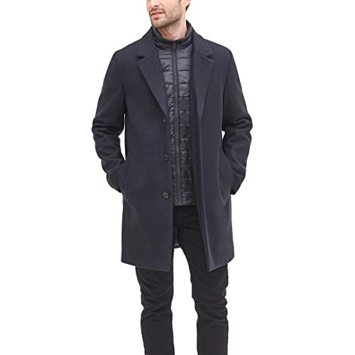 DKNY Herren Wool Blend Coat with Removable Quilted Bib Mantel aus Mischwolle, Navy, XX-Large