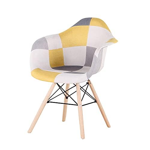 Un set di 2 sedie da pranzo comode, sedia da cucina alla moda in stile moderno con braccioli, gambe in legno massello con telaio in ferro cucina camera da letto sala da pranzo giallo