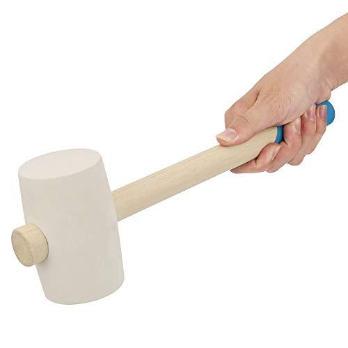 Plyisty Mazo de Goma Manual, Martillo con Cabeza de Goma para Suelos de mármol y Mango de Madera Antideslizante, para la instalación de Suelos de baldosas de mármol.(16 onzas)