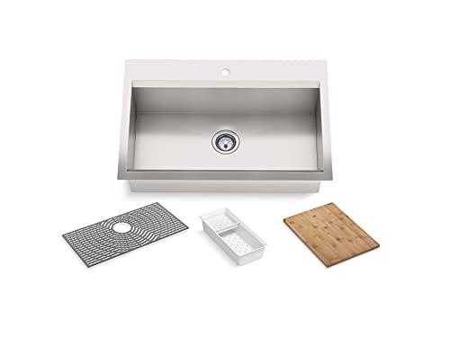 KOHLER 80084-1PC-NA TASK Single Bowl Stainless Steel Kitchen Sink, 33'