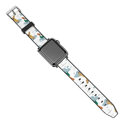 NiYoung Women Men Funny Pet Dogs French Bulldog Compatible with Apple Watch Bands 38mm 40mm 42mm 44mm Adjustable Sport Bands for iWatch