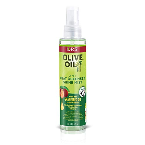 ORS Olive Oil with Grapeseed Oil 2-N-1 Shine Mist & Heat Defense 4.6 oz (Pack of 2)